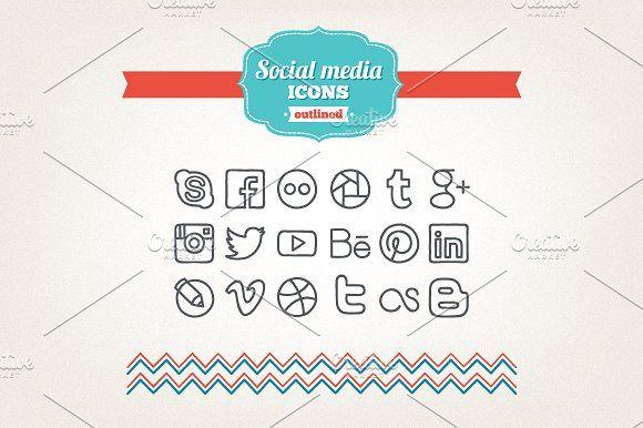 Hand drawn social media icons by miumiu on @creativemarket