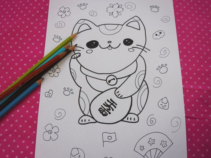 Maneki neko adult coloring page 招き猫 download colouring ...