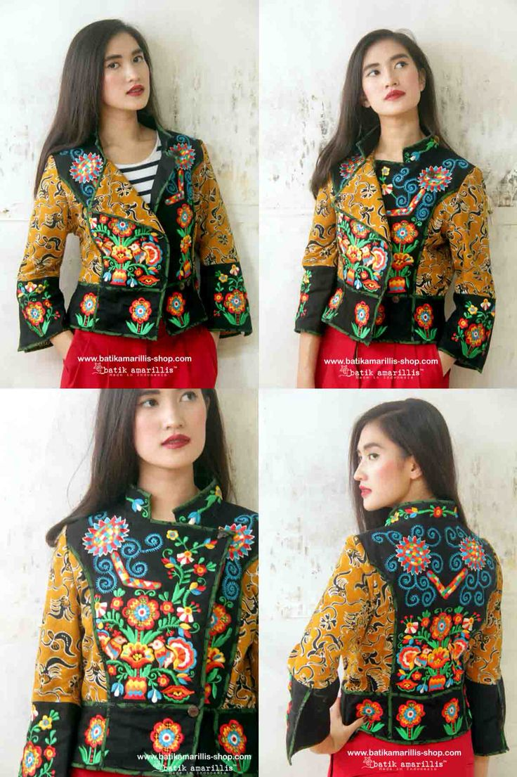Batik Amarillis's Ryder Jacket in classic Hungarian embroidery and Batik Gedog Tuban of Indonesia ....beautiful assymetrical design part of riding  & part of military inspired jacket, features criss cross batik piping & lining. You can change the look by playing with the front  button and the front flap of the jacket!