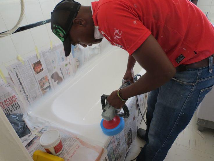 Polishing a bath.