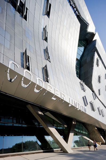Optically extruded letterforms on the facade of the new Cooper Union building. Both the signage and donor recognition are stunning.