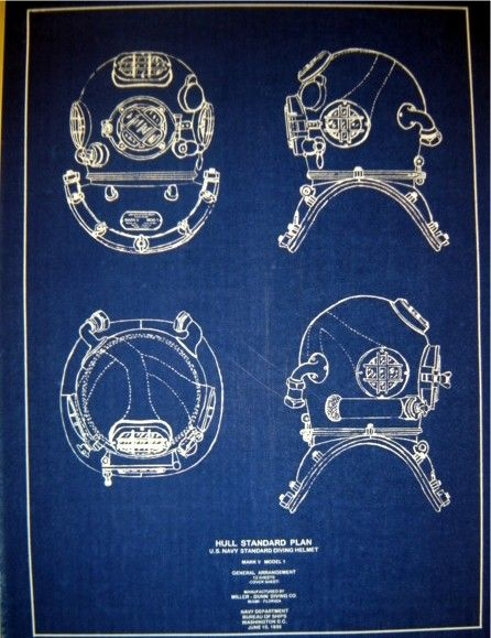 U.S.Navy Diving Helmet MKV Blueprint via SeaJunk *Nautical, Matey! They have many more blueprints… of ships and equipment and lighthouses and more*