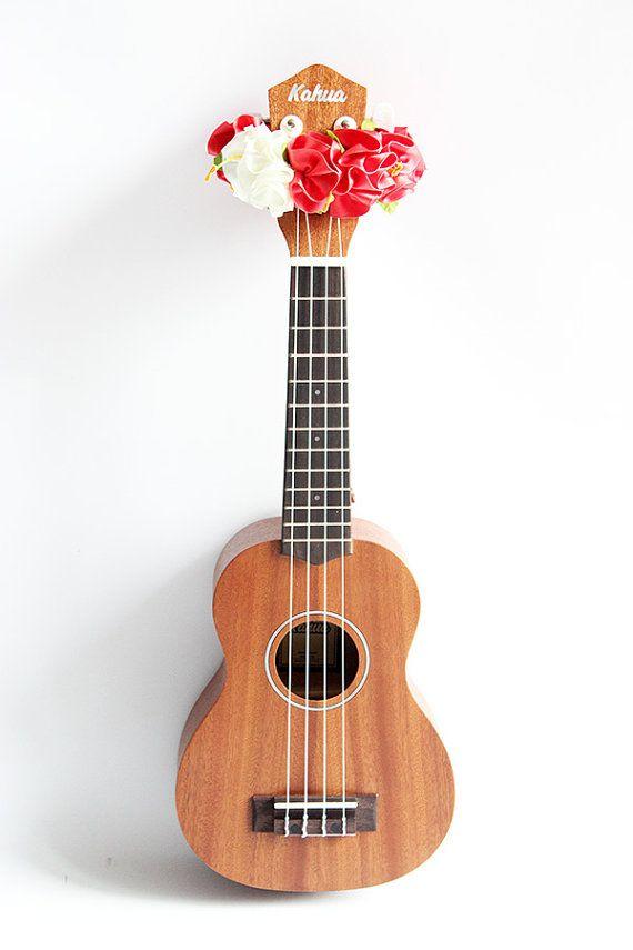 rribbon lei for ukulele // pink orangewhite flower // by ukuhappy