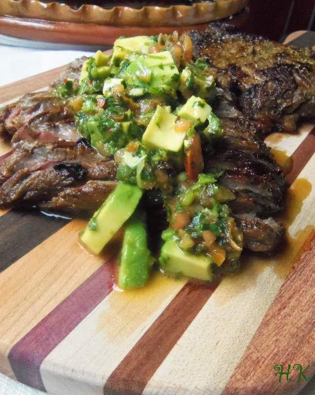Carne Asada a La Plancha with Cilantro Avocado Chimichurri HispanicKitchen.com