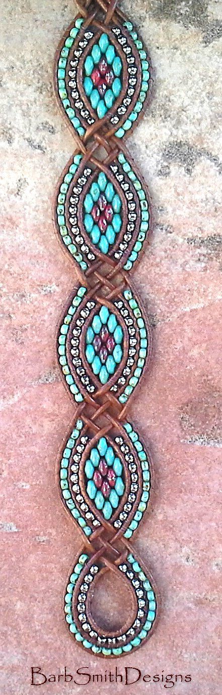 Turquoise Silver Beaded Leather Cuff Wrap by BarbSmithDesigns