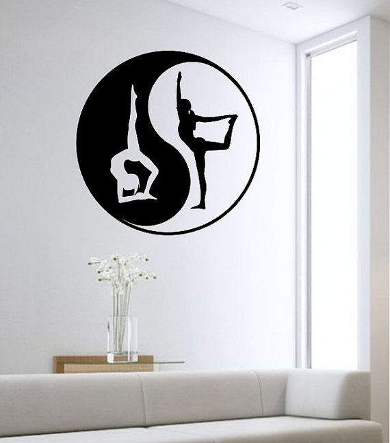 Yin yang wall decal yoga namaste vinyl sticker art decor for Meuble mural yin yang