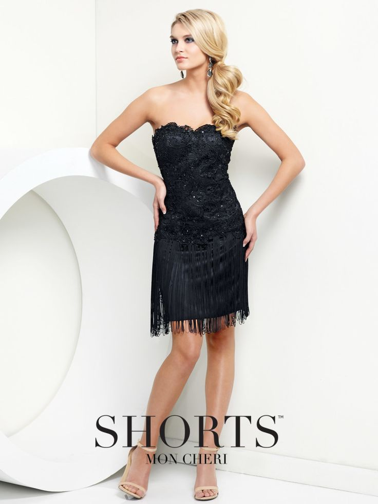 Shorts - TS21552 - Strapless lace homecoming dress, strapless lace dress with fringe hem. Removable straps included. Click to view more homecoming dresses.Sizes: 0-16Colors: Black