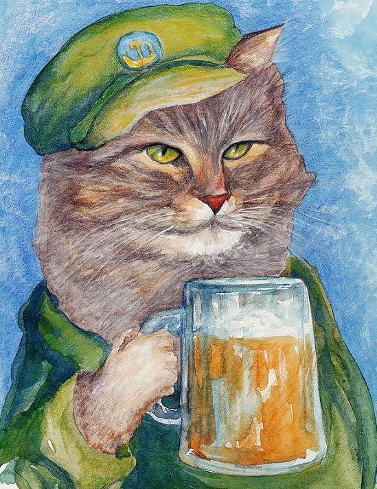 Картинки кот с пивом
