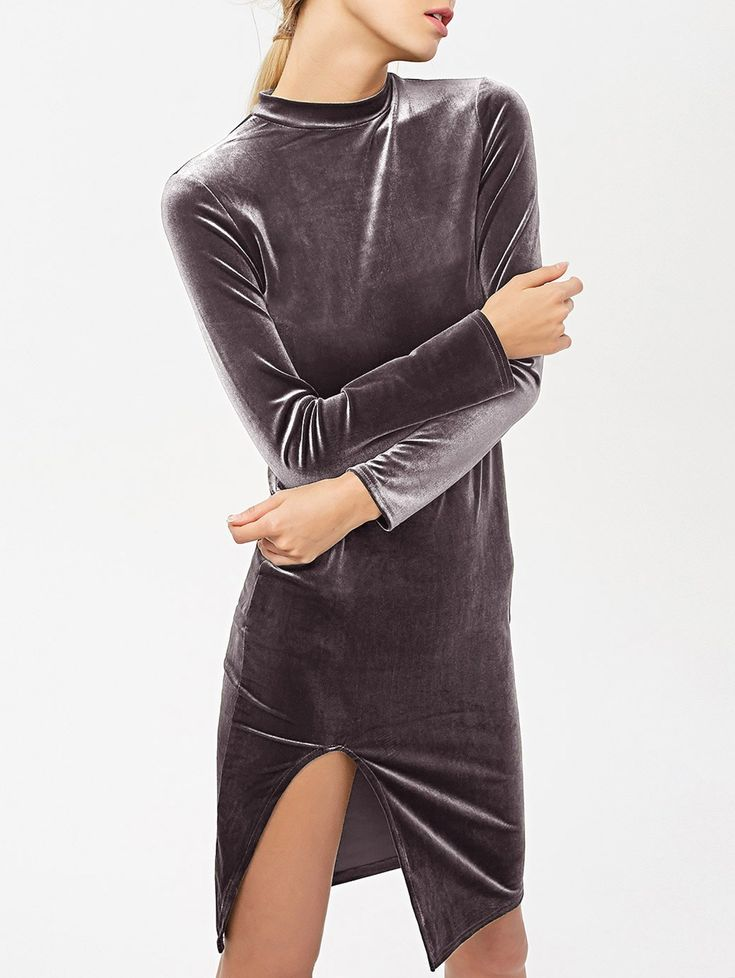Side Slit Long Sleeve Velour Dress - BLACK PURPLE S