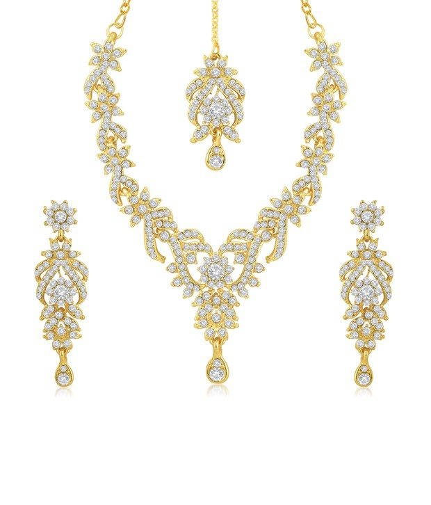 Sukkhi Trendy Gold Plated Australian Diamond Stone Studded Necklace Set, http://www.snapdeal.com/product/sukkhi-trendy-gold-plated-australian/1839997133