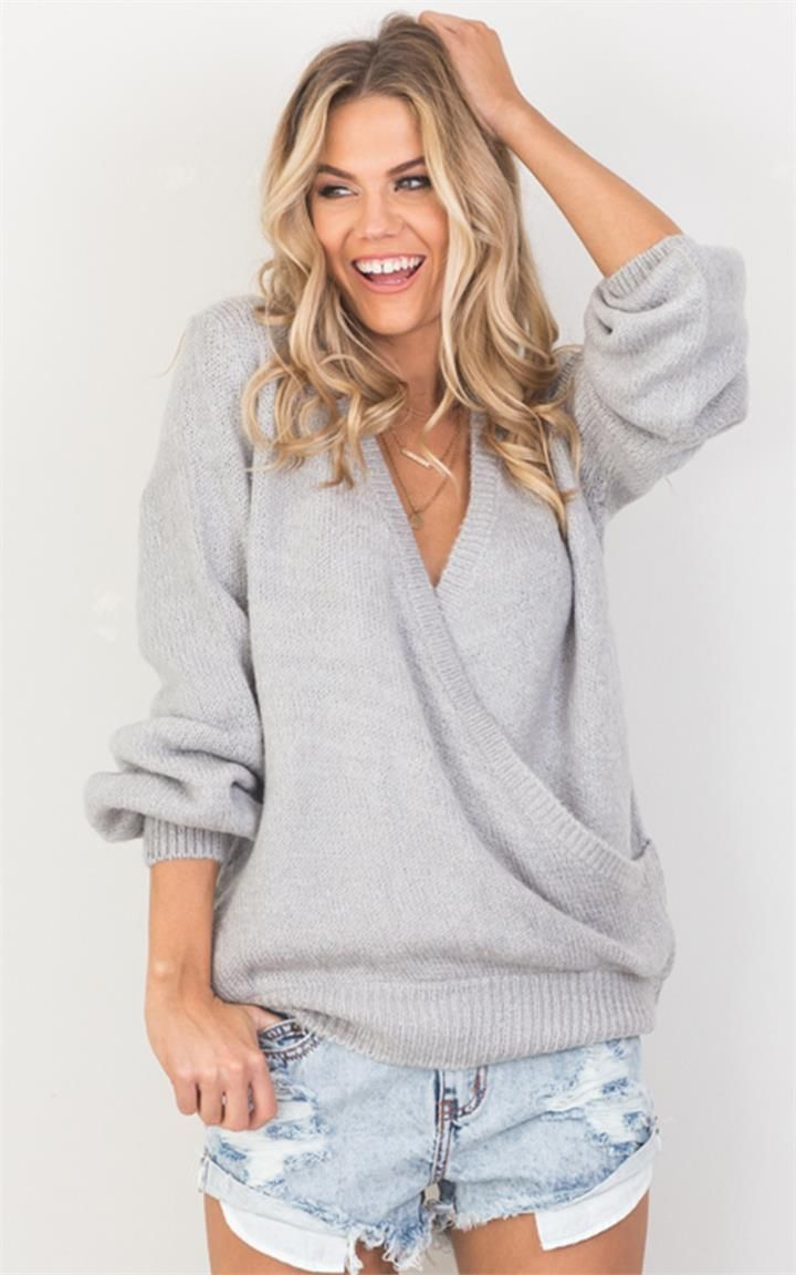 Casual outfit ideas -- Gray wrap sweater by Showpo. I love this! Winter outfits, cute sweaters -- Instagram Lifestyle bloggers