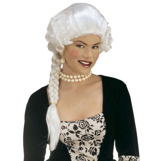Hertogin pruik met mooie vlecht  Pruik hertogin. Witte hertogin pruik met een mooie vlecht. De pruik is ook leuk om te gebruiken voor bij uw prinsessen outfit op een gemaskerd bal.  EUR 19.95  Meer informatie