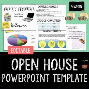 Open House Template (Parents Night; Back to School Night)Editable PowerPointThis is an editable Open House template for secondary grades. Please note this is a template, and you will need to go through each slide and modify or add/delete as you see fit before presenting it to parents!