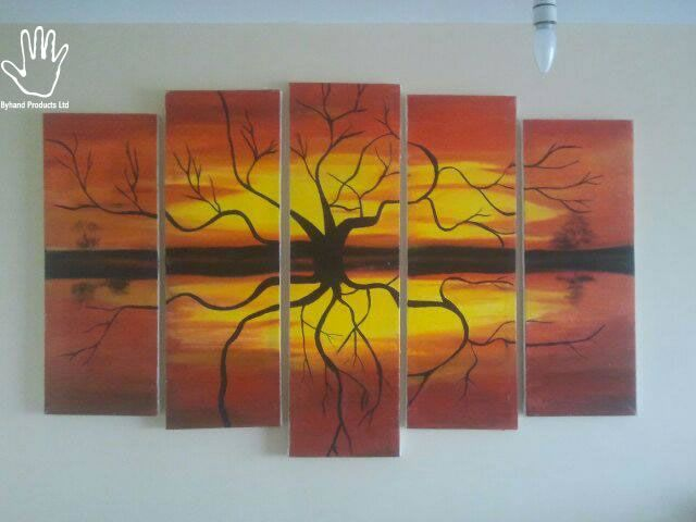 5 Piece African Wood land Painting. Strong African hand painting made on canvas. Suitable for living rooms, dining areas, corridors or offices. suitable for red colored walls, cream, white or yellow. Size: 2M wide by 0.9M height. Available with many more African made products at www.nuerasamp.com.