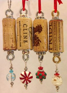 wine cork tree ornament....I'm going to do this to the cork from the champagne the night we got engaged