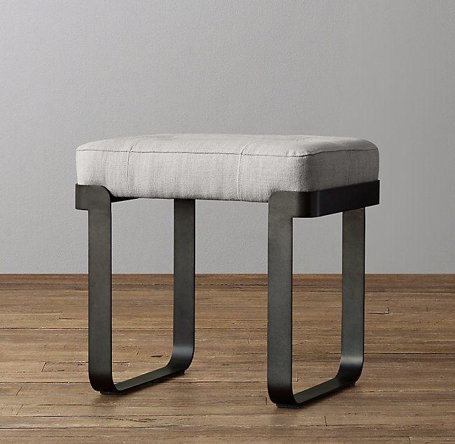 Vance Upholstered Stool Graphite Upholstered Stool Leather