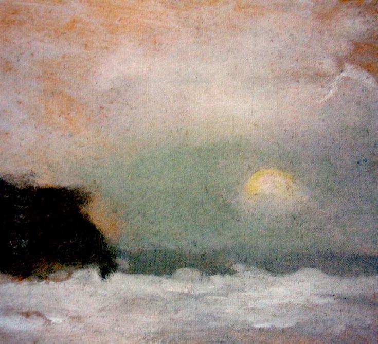 Clarice Beckett (1887-1935) Australia -  Moonrise Beaumaris; Sunset and Trees (Beaumaris is a bayside suburb of Melbourne, Victoria)