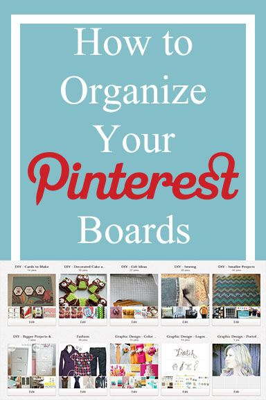 How to Organize your Pinterest Boards - I so need to do this. :)