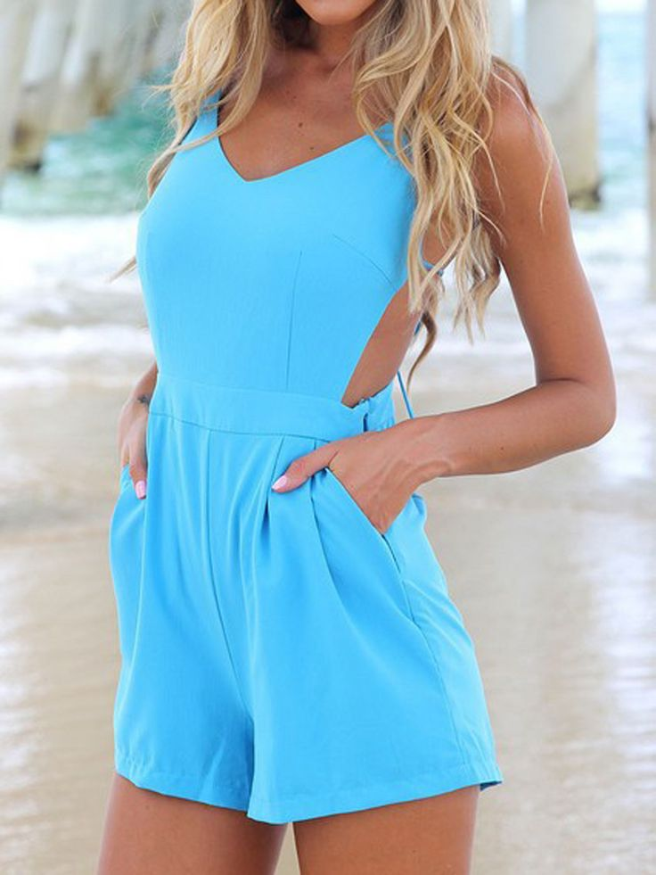 Blue Cami Playsuit Romper With Strappy Back | Choies