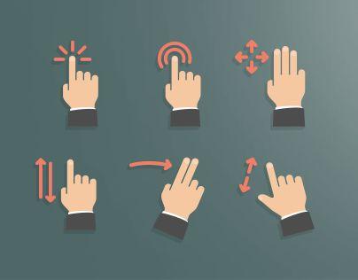 """다음 @Behance 프로젝트 확인: """"Flat Style Touch Screen Gestures Set""""…"""