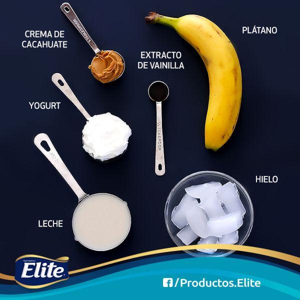 Plátano con crema de maní y yogurt. Un licuado lleno de energía. #DesayunoSaludable #Receta