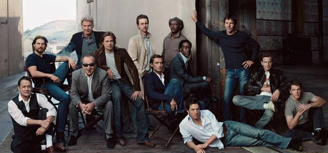 Tom Hanks, Tom Cruise, Harrison Ford, Jack Nicholson, Brad Pitt, Edward Norton, Jude Law, Samuel L. Jackson, Don Cheadle, Hugh Grant, Dennis Quaid, Ewan McGregor, and Matt Damon by Annie Leibovitz , 2003