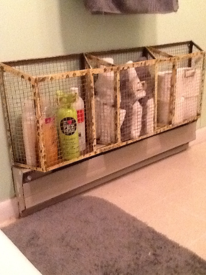 Small Bathroom Space Saver!! Helps Cover Ugly Baseboard Heater....pet
