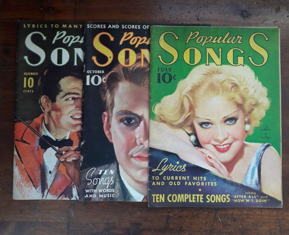 Set of 3 Vintage Magazines Titled Popular Songs and Featuring