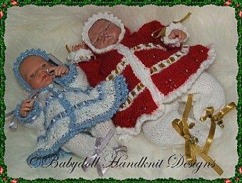FREE Snowflake Patterned Hooded Coat & Leggings 8-13 inch dolls-christmas, doll, reborn, emmy, knitting pattern