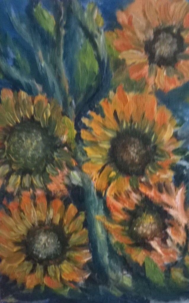 """Girasoles"" (Sunflowers). 2011. 15x20cm. Oil on canvas."