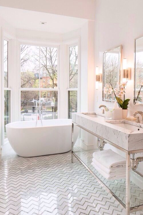 """Should I use the herringbone pattern on the floor? In the shower/bath? Or neither place because it will be a dated look sooner than later? Also if I use the herringbone pattern or any other pattern should I add the """"shimmery small tiles in the grout lines"""" – see the other pictures in this Pinterest account"""