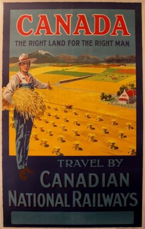 Canada the Right Land for the Right Man, 1920s - original vintage poster by W Y Calder listed on AntikBar.co.uk