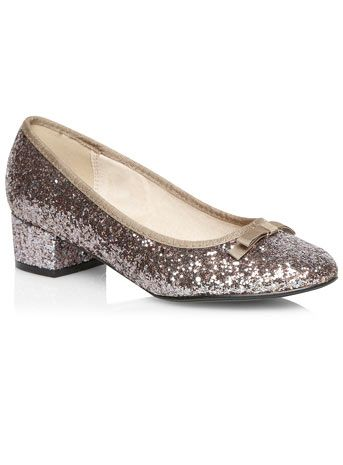 Evans Silver Glitter Low Heel Court Shoes - New In