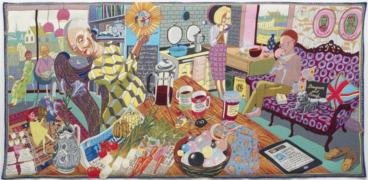 'Virgin' Anlaşmasının Tebliği, 2012. Yün, pamuk, akrilik, polyester ve ipek halı, 200x400 cm. British Council Koleksiyonu ve Arts Council Koleksiyonu. Görsel izin, sanatçı ve Victoria Miro, Londra. / The Annunciation of the Virgin Deal, 2012. Wool, cotton, acrylic, polyester and silk tapestry, 200x400 cm. British Council Collection and Arts Council Collection. Image courtesy the Artist and Victoria Miro, London. © Grayson Perry #GraysonPerryTR