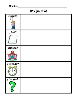The 5Ws quin, qu, dnde, cundo, and por qu. Use this worksheet at a writing center, after a read aloud, or to complete an anchor chart.