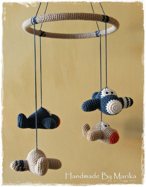 Baby crib mobile crochet airplanes - organic cotton - custom mobile - nursery decor on Etsy, $98.00