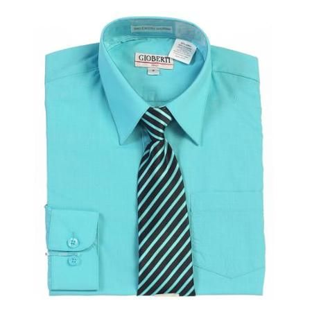 Boys Mint Button Up Dress Shirt Striped Tie Set 16
