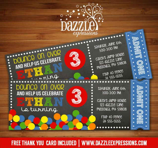 Printable Chalkboard Bouncy Ball Ticket Birthday Invitation   Kids Party Idea   DIY   Digital File   Bouncing Ball   Ball Pit   Bounce House   FREE thank you card   Matching Printable Party Package Available    Banner   Cupcake Toppers   Favor Tag   Food and Drink Labels   Signs    Candy Bar Wrapper   www.dazzleexpressions.com