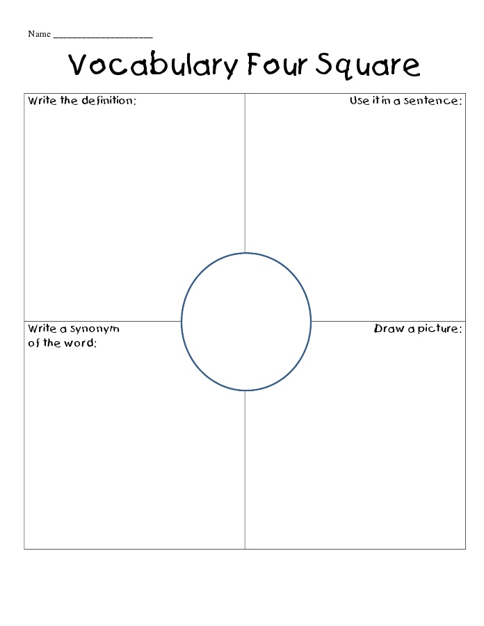 Vocabulary Four Square. Might make quite a good morning job activity of a simple literacy starter.