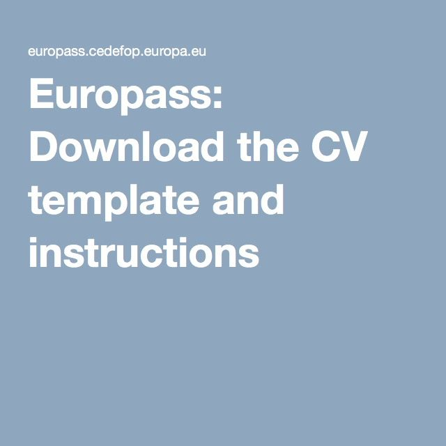 Europass: Download the CV template and instructions