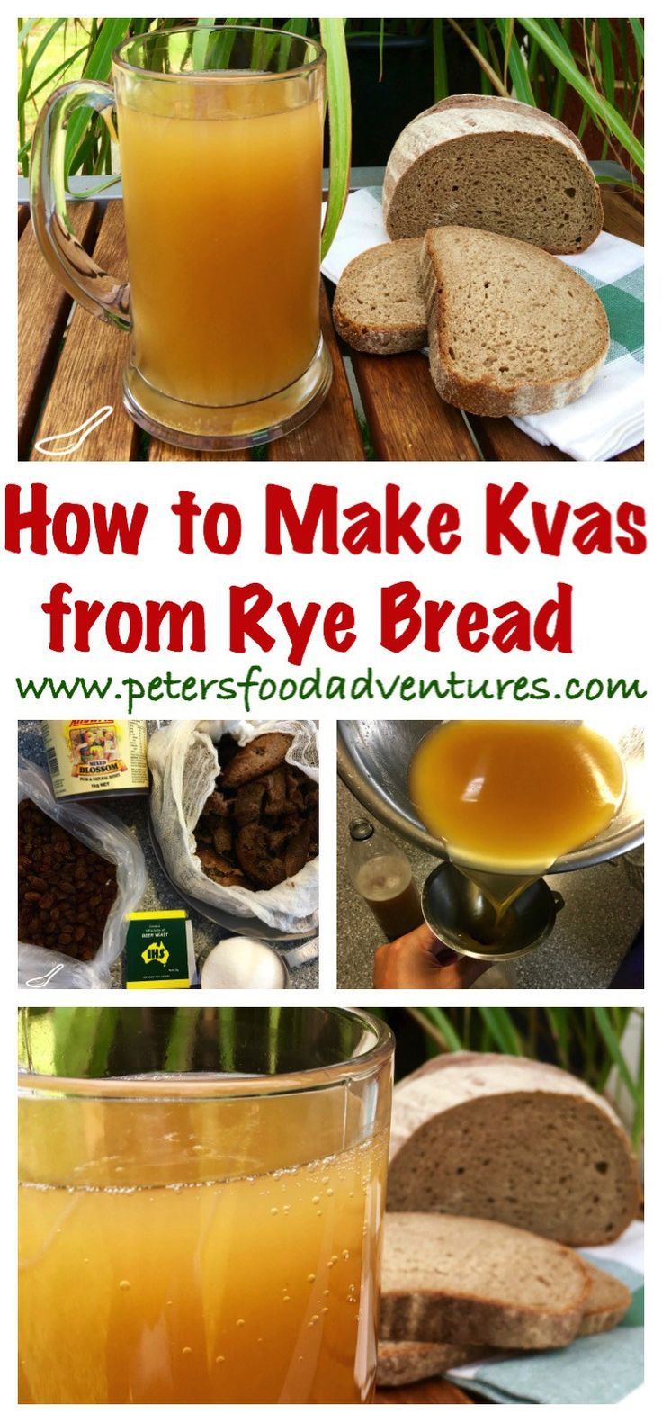 A refreshing Russian summer drink, naturally fermented, chemical free and delicious! Not beer, but delicious Kvas Rye Bread Drink (Квас)