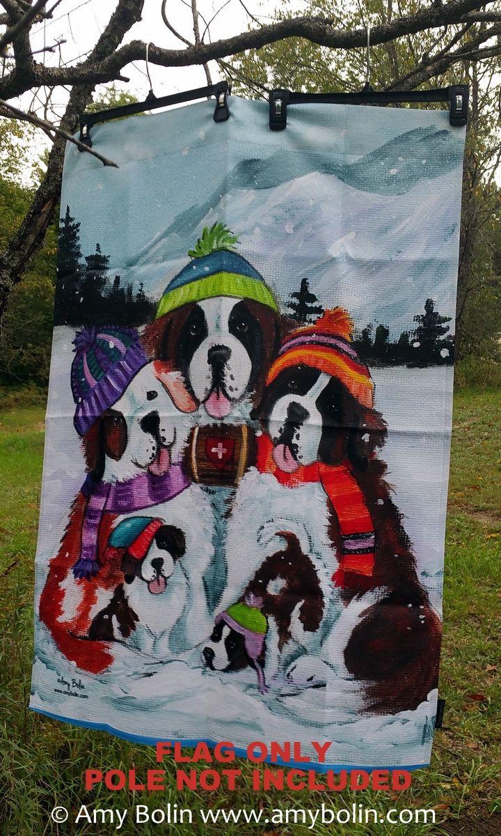 """""""Generations"""" Saint Bernard Dogs by Amy Bolin · House Flag - Amy Bolin's Far Out! Art"""