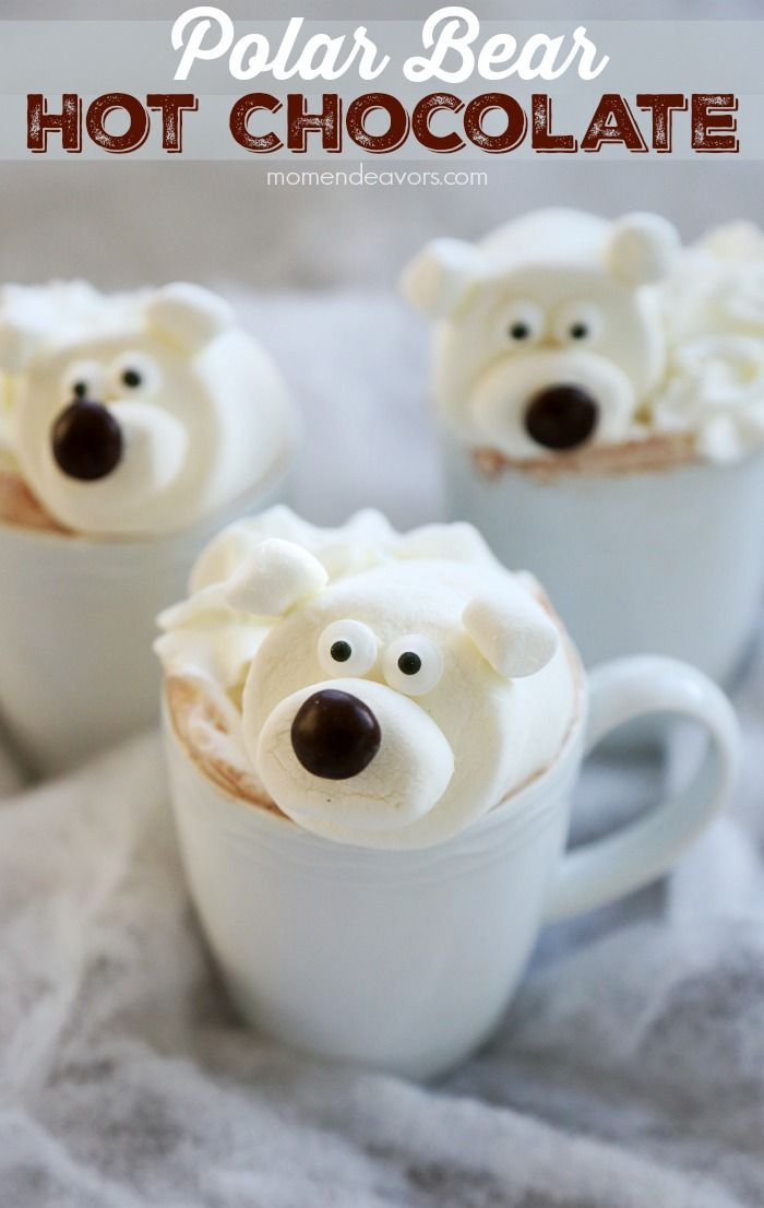 Polar Bear Hot Chocolate. Super adorable cold weather treat! #Christmas #winter #drinks