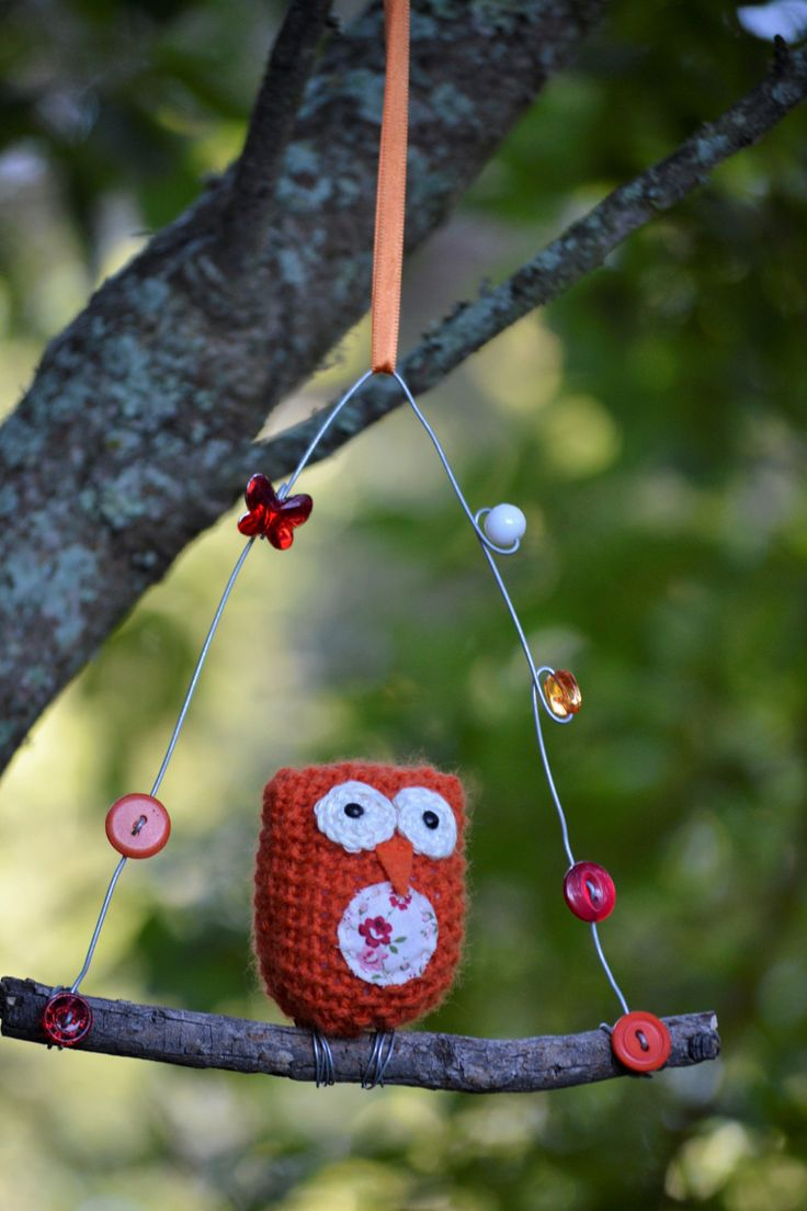 Owl on a Twig, Ozzie Owl, Orange Owl, Knitted Owl, Owl, Floral, Buttons, Beads, Ribbon, Orange, White by HeartmadeSouthAfrica on Etsy