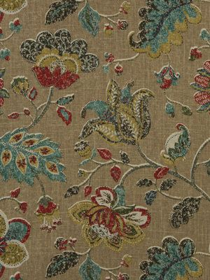 Modern Floral Upholstery Fabric By The Yard   Teal Brown Fabric   Drapery  Fabric   Printed Part 78