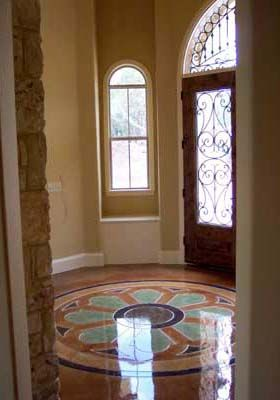 Decorative concrete floors - Stained concrete floors using Scofield concrete acid etch stain.