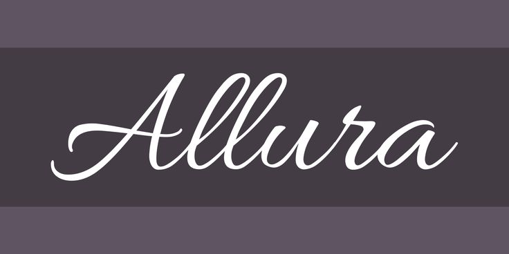 Download and install the Allura free font family by TypeSETit as well as test-drive and see a complete character set.