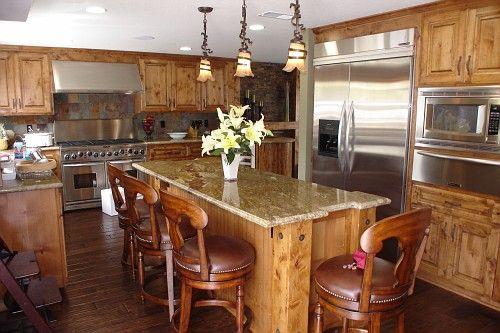 Knotty hickory cabinets decor pinterest hickory cabinets dark counters and drywall - Knotty hickory kitchen cabinets ...