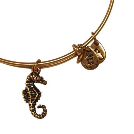 Alex and Ani Seahorse Expandable Wire Bangle Russian Gold