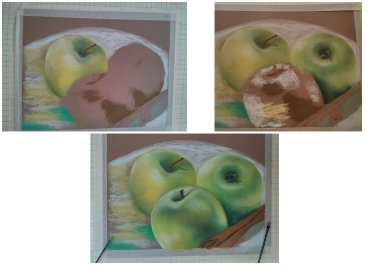 Green apples. In the process of pastel painting